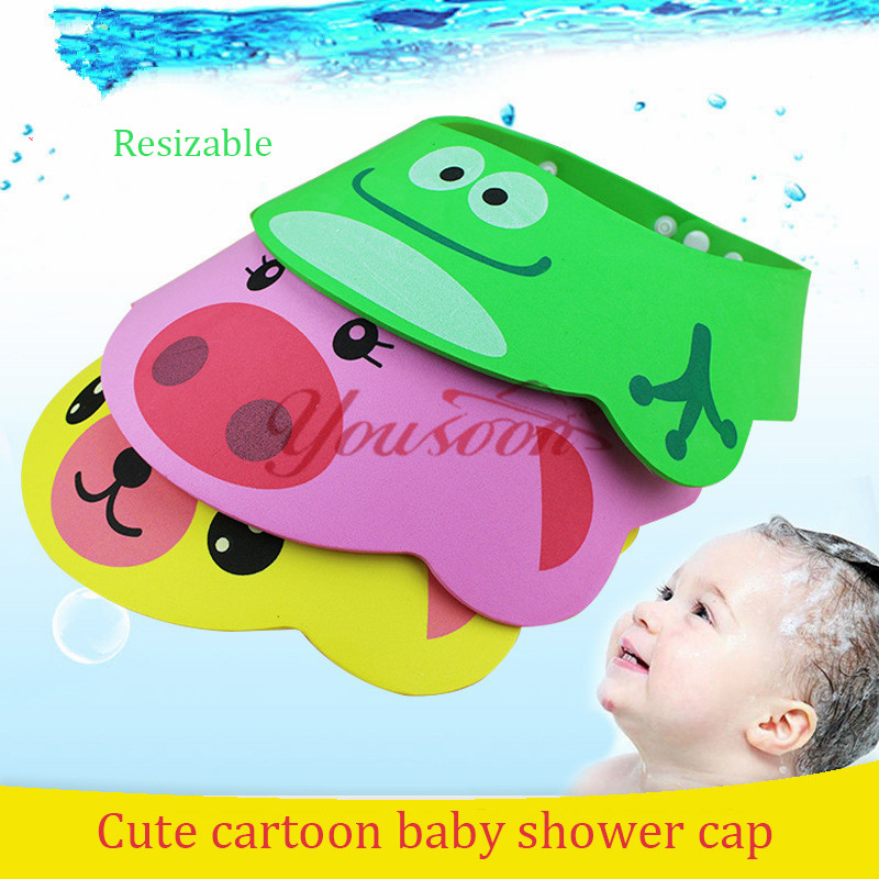 5 buttons Adjustable Baby Hat Toddler Kids Shampoo Bathing Shower Cap Wash Hair Shield Direct Visor Caps For Children Baby Care