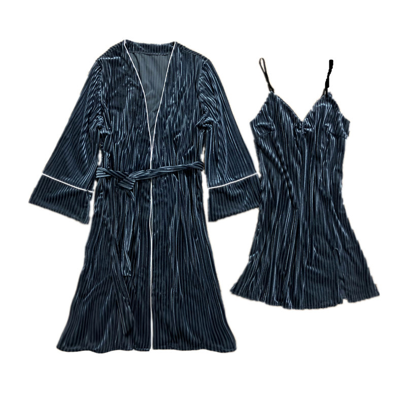 Temperamentvoll Winter Warme Frauen Casual Hause Tragen Sexy 2cs Strap & Robe Solide Striped Samt Nachthemd Mode Komfortable Weibliche Pyjamas Set Moderater Preis Nachthemd & Bademantel-sets