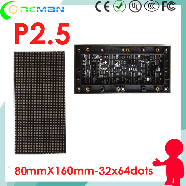 ali express freeshipping p2.5 led matrix module high brightness   full color rgb diy led sign components module