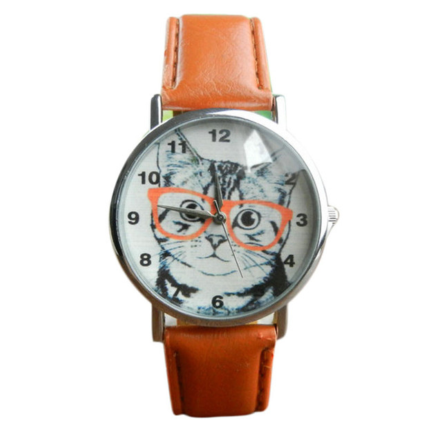 New Arrival Women Watches Cat Pattern Watches Womens Girl Leather Band Analog Qu