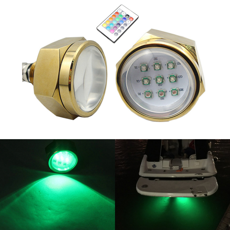 27W RGB Led Underwater Lights Yacht Boat Drain Plug Light 2PCS Multi color color changing led