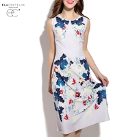ElaCentelha Brand Dress Women Summer European And American Style Fashion Print Sleeveless Empire Knee Length Maxi