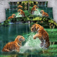 4 PCS PER SET Amazing tigers playing in river 3d bed set 3d bed linens