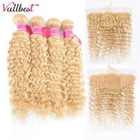 Vallbest Brazilian Deep Wave 613 Bundles With Frontal 100% Human Hair Blonde 4 Bundles With Lace Frontal Remy Hair Extension