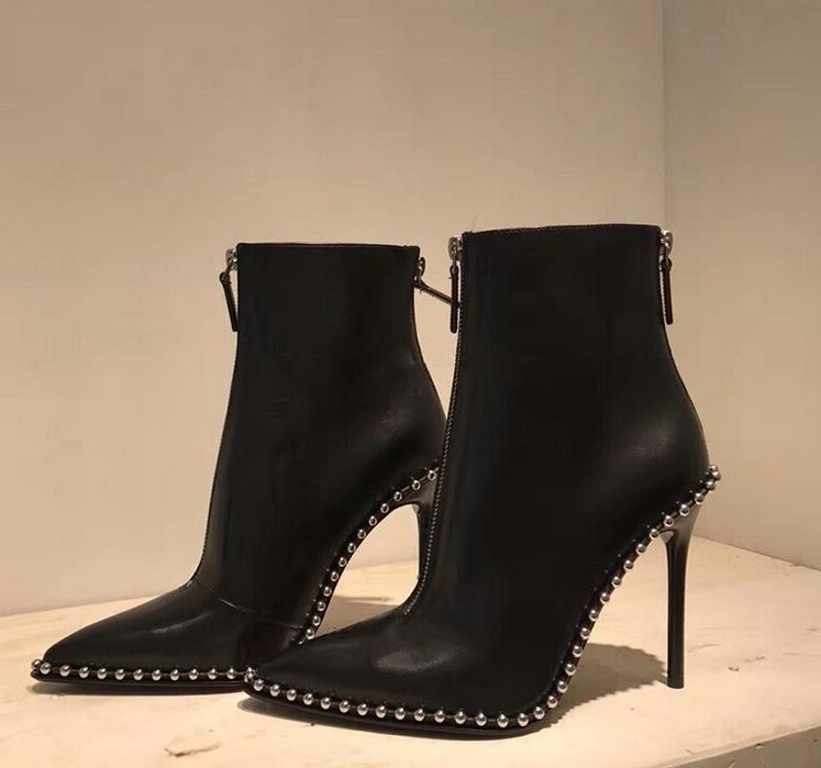 san francisco super cute really cheap New Designer Black Leather Studded Ankle Boots Pointed Toe Zipper ...