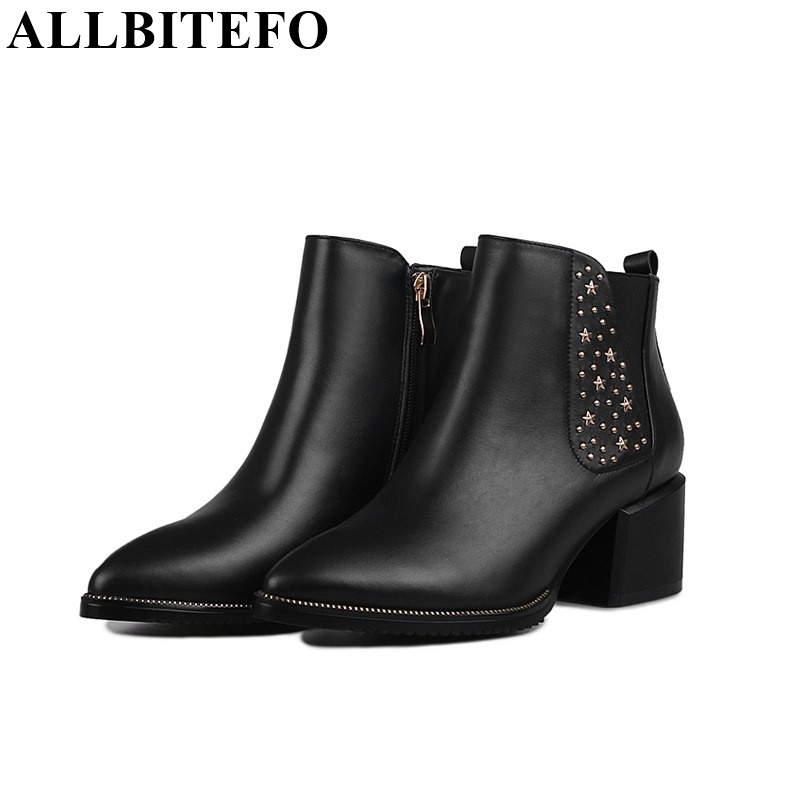 ФОТО ALLBITEFO pointed toe star rivets thick heel zip ankle boots High quality genuine leather short women boots high heel boots