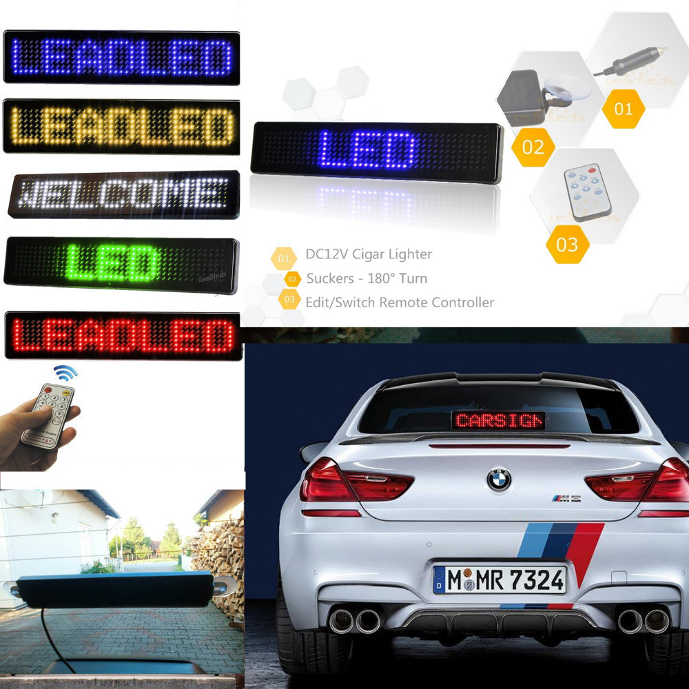 Купить с кэшбэком 23CM 12v LED Car Sign Remote Control Motorcycle English display Board Scrolling Programmable Message Blue Cheap Diy kit