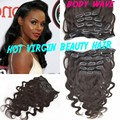 Unprocessed Virgin Brazilian Human Hair Body Wavy Clip-in Human Hair Extensions 7PCS/Lot 120g Clip Ins Weave Hair