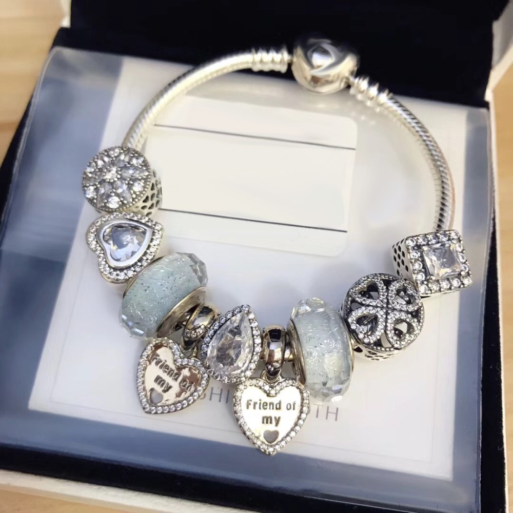 Original 100% 925 Silver Charm High Quality Heart Shaped Beads Women Charm Copy Jewelry For WomenGift 1:1 With Logo BraceletOriginal 100% 925 Silver Charm High Quality Heart Shaped Beads Women Charm Copy Jewelry For WomenGift 1:1 With Logo Bracelet