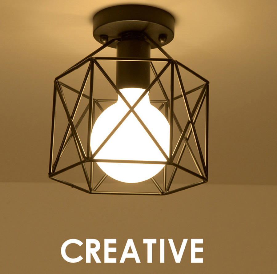 Nordic Vintage Ceiling Light Retro Loft Industrial Design Iron Deco Bulb Lighting Fixture