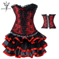 HOT Red Sexy Gothic Steampunk Corsets Dress Waist Trainer Corsets And Bustiers Espartilho Waist Cincher For Women Corset Skirt