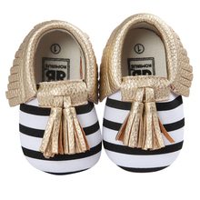 ROMIRUS Baby Moccasin Newbron Baby First Walker Soft Bottom Non-slip Baby Shoes Kids Leather Prewalkers Boots Striped Gold White