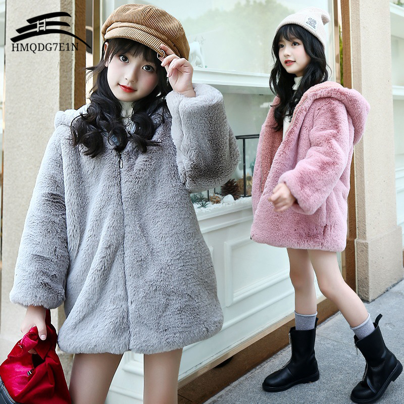 Girls Faux Fur Fleece Coat Kids Thick Plus Velvet Coat Warm Cartoon Owl Pattern Jacket Xmas Snowsuit Outerwear Children Clothes sherpa fleece faux suede coat
