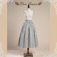 Ladies' Trendy Fashion Cotton Skirt Striped Patterns and Elastic Waistline