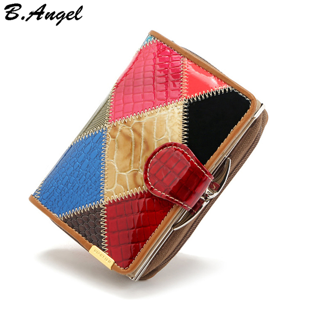 New candy color pattern joint wallet cowhide genuine women wallets girl wallet women purse card holder coin purse