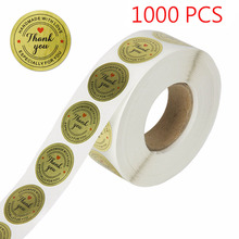 500PCS Round Gold Thank You Stickers Labels Handmade With Love for Gifts, wedding decoration, baby shower,Envelope Seal