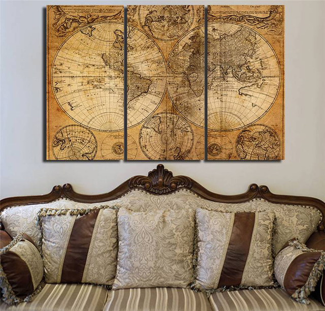Hd printed 3 piece canvas art world map canvas ancient map painting hd printed 3 piece canvas art world map canvas ancient map painting wall pictures for living gumiabroncs Gallery