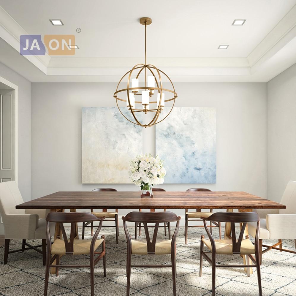 led e14 American Glass Iron Gold Chrome Globe Chandelier Lighting Lamparas De Techo Suspension Luminaire Lampen For Dinning Room