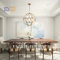 led e14 American Glass Iron Gold Chrome Globe Chandelier Lighting Lamparas De Techo Suspension Luminaire Lampen For Dinning Room