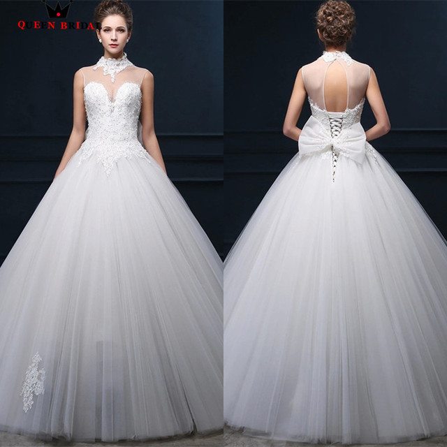 Custom Made Wedding Dresses Bride Ball Gown High Neck Lace Beading ...