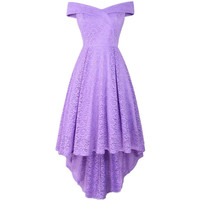 Double Lavender V Neck Women Dress Strapless Cocktail Party High Low Lace Dress Strapless Women Dress for Party and Wedding