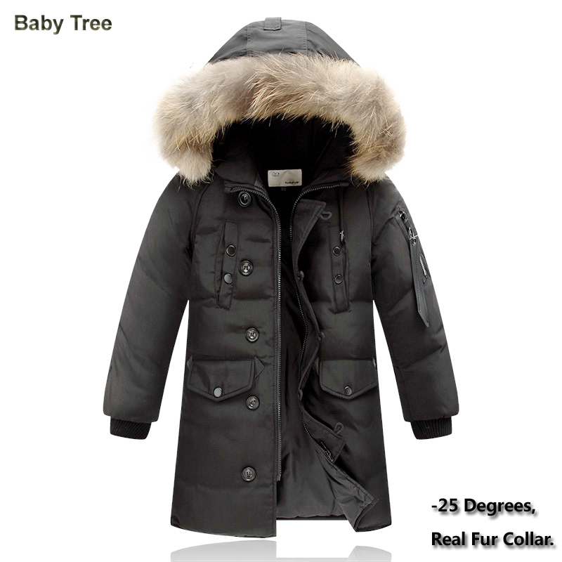 4-14Y Winter Children's Down Jacket Long Thick Boys Girls Winter Coat Duck Down Kids Winter Jackets for Boy Outerwear Fur Collar boys down jacket boy winter coats jackets boy 100% white duck down jacket russia winter boys down jacket 30