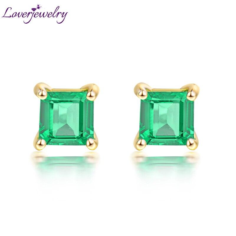 Loverjewelry 18k Yellow Gold Genuine Emerald Lady Stud Earrings Natural Gemstone Wedding Jewelry for Women Party Jewelry Design