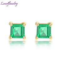 Loverjewelry 18k Yellow Gold Genuine Emerald Lady Stud Earrings Natural Gemstone Wedding Jewelry for Women Party Jewelry Design