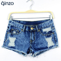 Women's tie-dyeing distrressed low waisted casual denim shorts Hole ripped jeans Free shipping