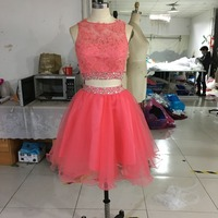 Real Photo Coral Homecoming Dresses Short Two Piece Prom Dress Beaded Crystal Lace Tulle Dress for Graduation Semi Formal Gowns