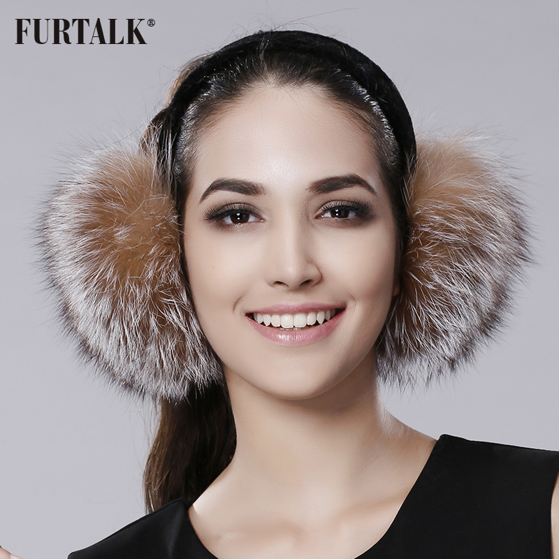 FURTALK Winter Real Fur Earmuffs Women Real Fox Earmuffs Girls Warm Earlap Ultralarge Imitation Ladies Plush Ear Muff