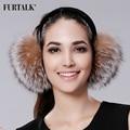 FURTALK Winter Women Warm Real fox  Earmuffs Girl's Earlap Ultralarge Imitation Ladie's Plush Ear Muff