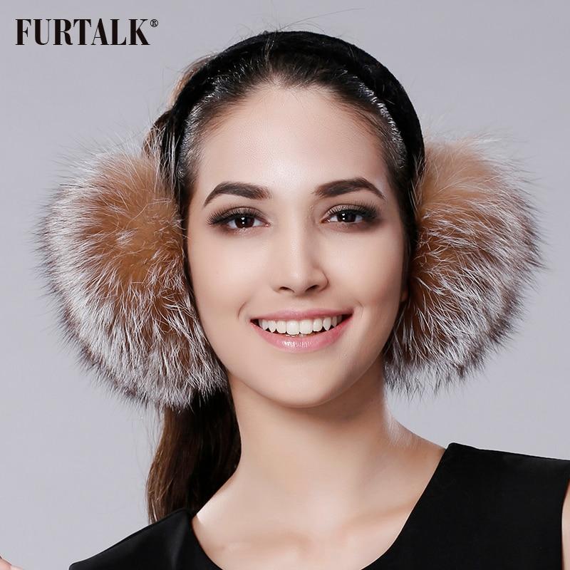 Mujeres Calientes del Invierno Real fox Orejeras Earlap muchacha FURTALK Ultralarge orejeras de la Felpa de Imitación de Ladie