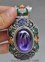 Weihnachten China tibetischen silber cloisonne mosaik Saphir Edelstein Zirkon Amulett Anhänger Halloween