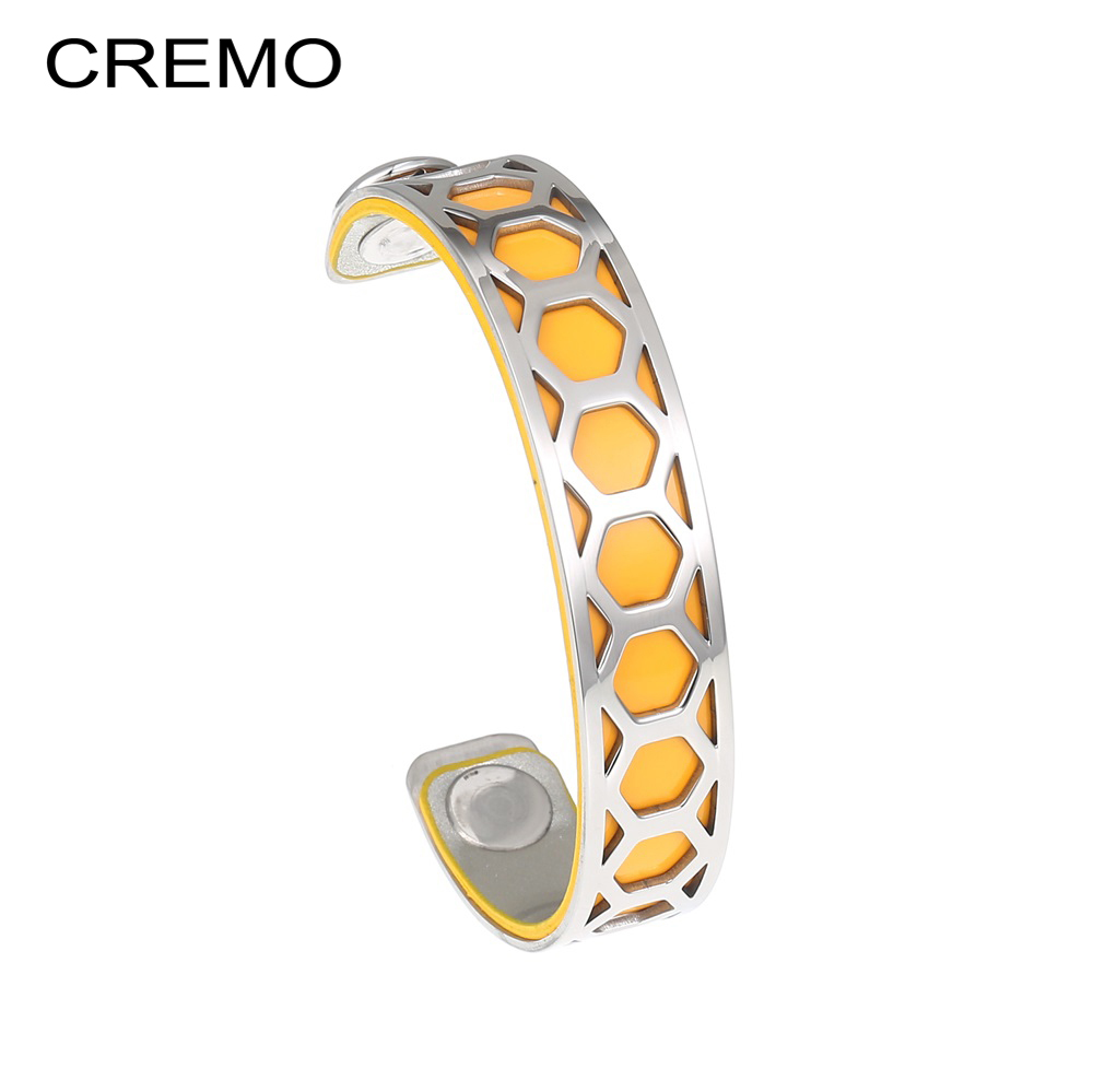 Cremo 14mm Grids Leather Cuff Bracelets Femme Fishnet Stainless Steel Bracelets & Bangles For Women Personalized Mesh Pulseira