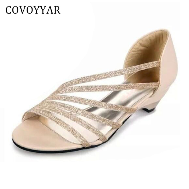 fb7ea9e9fe43 COVOYYAR 2019 Elegant Gladiator Sandals Bling Strappy Cut Out Summer Shoes  Women Wedge Heel Sandal For Party Prom WSS59
