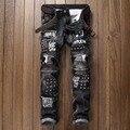 2017 Parche de Algodón Classic Ripped Denim Jeans Hombres Ocasionales Flacos Para hombres Rectos Slim Fit Plus Tamaño Rvaet Rap Harajuku Biker Jean