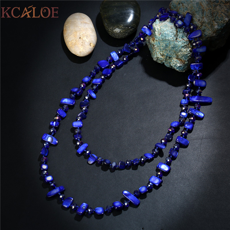 KCALOE Long Women Necklace Fashion Austrian Crystal Handmade Rope Jewelry Sea Blue Natural Shell Stone Necklaces For Women