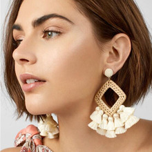 Summer for Europe and the United States national wind multilayer tassel earrings hand-made by new  pendant jewelry