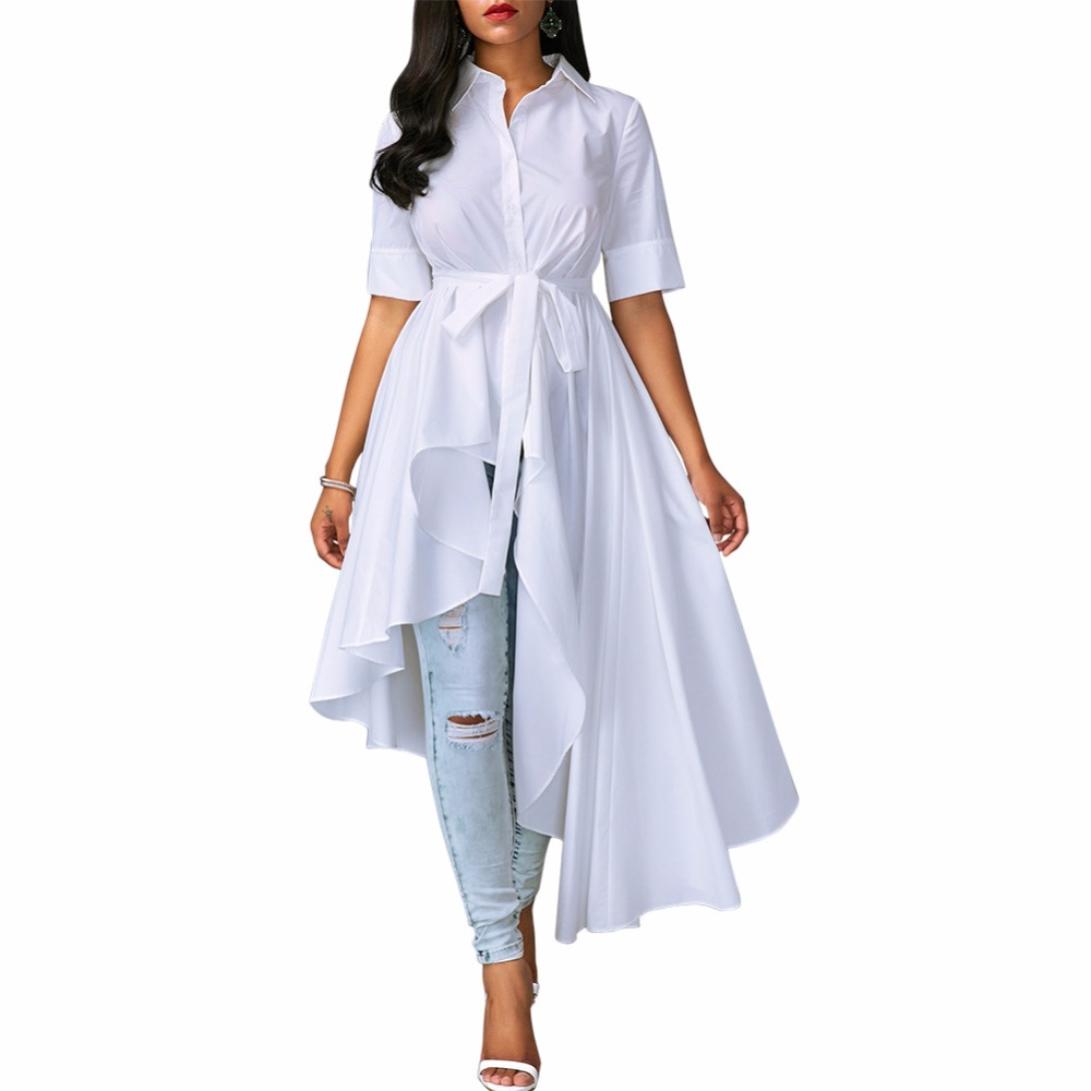 Asymmetric White High Low Sashes Long Blouse Dress Buttons Half Sleeve Casual Shirt Dresses Women Plus