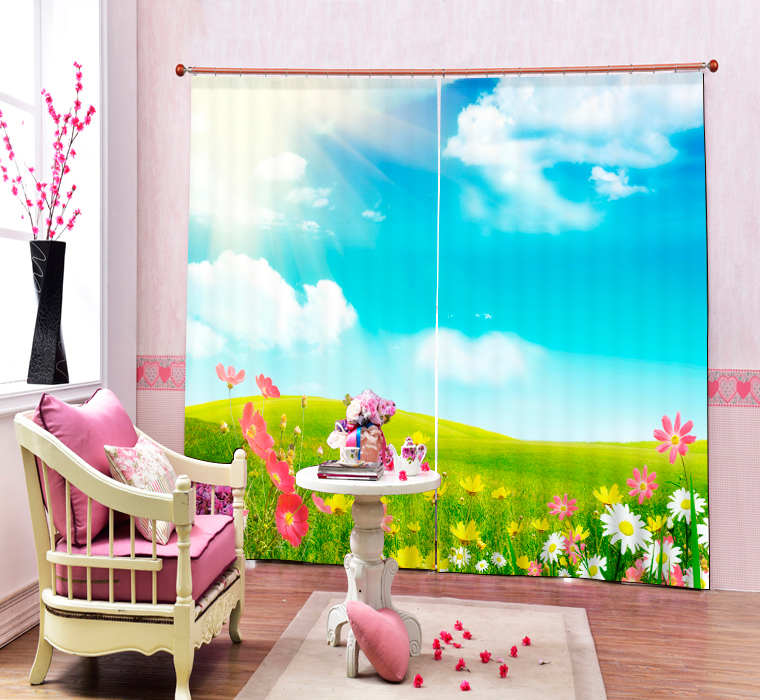 Bathed in sunshine 3D Blackout Curtains Healthy non-pollution Digital Print Happy Day Curtains for Bedding room Living room