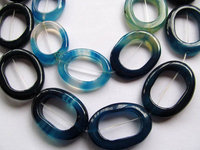 25 Off 2strands 28x35mm Natural Agate Onyx Round Oval Loop Circles Donut Ston Royal Blue Green