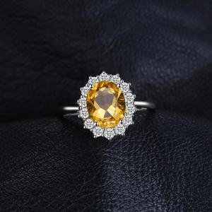 Image 2 - JewPalace Princess Diana Genuine Citrine Ring 925 Sterling Silver Rings for Women Engagement Ring Silver 925 Gemstones Jewelry