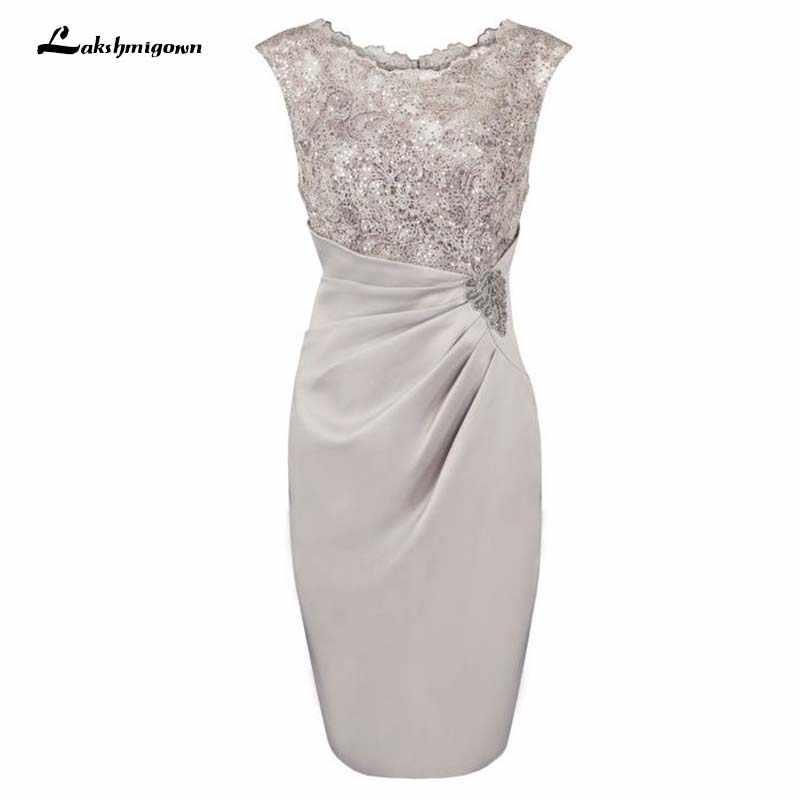 2ee4803d30e Оболочка совок колено-длина серый мать невесты платье с аппликациями  vestido de fiesta жениха платье