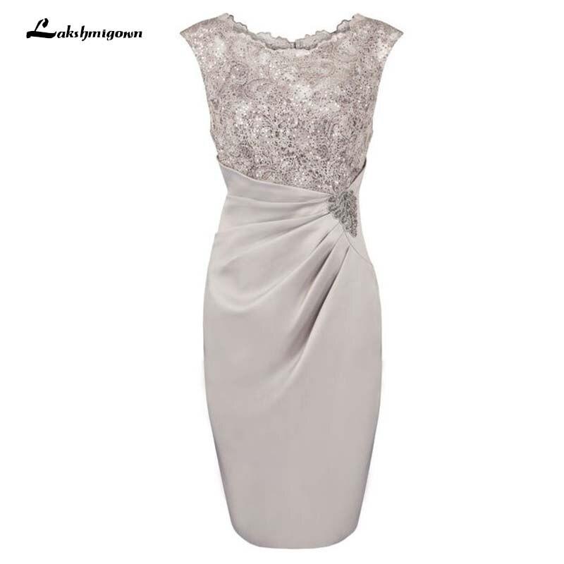 Sheath Scoop Knee-length Grey Mother Of The Bride Dress With Appliques Vestido De Fiesta Groom Mother Dress