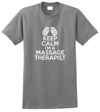 Design A Shirt Short Sleeve Crew Neck Keep Calm IM Massage Therapist  Best Friend Mens Shirts