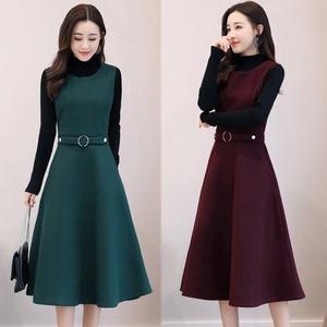 Image 4 - Women Wool Vest Dress Fashion Autumn Winter Elegant Slim O neck Sleeveless Dress Plus size Ladies With pocket Woolen Dress 3XL