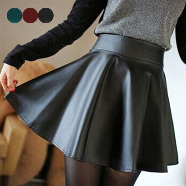 Swokii Women High Waist PU Leather Skater Mini Skirt Solid Color Sexy Short Pleated Skirts NFE99
