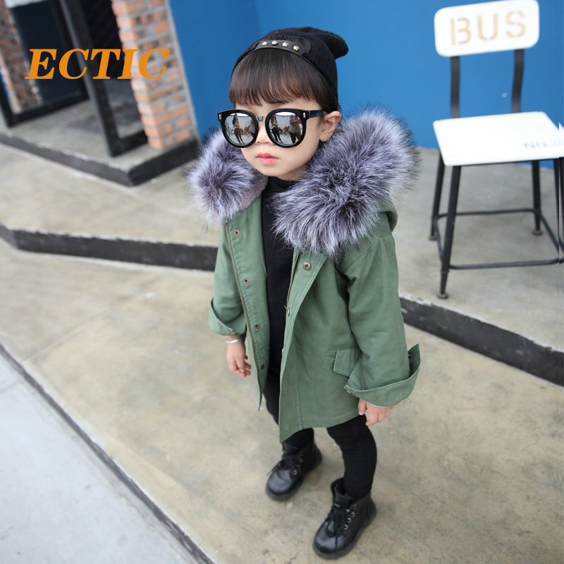 Angela&Alex Winter Jacket Girls Boys Cotton Coat Suit for Unisex Kids Hooded Fur Collar Zipper Thick Warm Outerwear 2017 New alex evenings new black jacket msrp $ 179