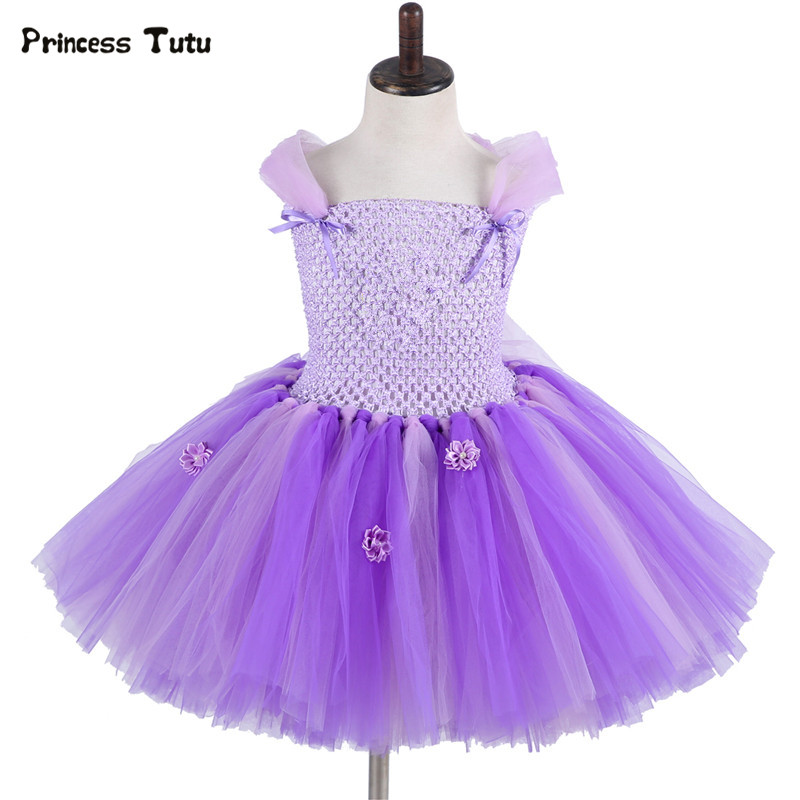 Children Girls Princess Sofia Dress Kids Tutu Dress Girl Birthday Party Performance Tulle Dress Halloween Cosplay Sofia Costume girls catwoman cosplay for kids christmas party performance halloween costume cute kids girls cat kitty princess dress with hair